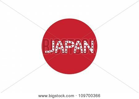Japanese Flag And Word Japan