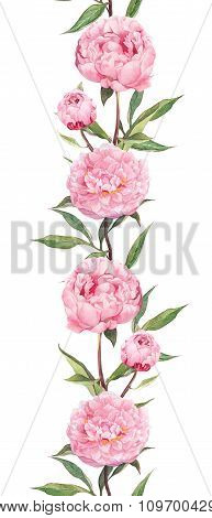 Peonies flowers. Repeating pattern - border frame. Water color