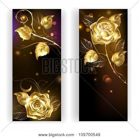 Two Banners With Gold Roses
