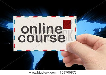 Hand Holding Envelope With Online Course Word And World Background