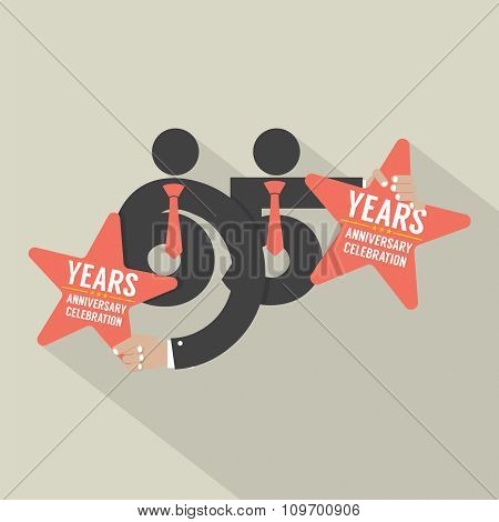 65 Years Anniversary Typography Design.