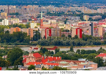 Aerial view of modern and Old town, Warsaw, Poland