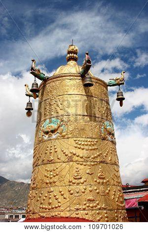 Gilt Giant Prayer Wheel