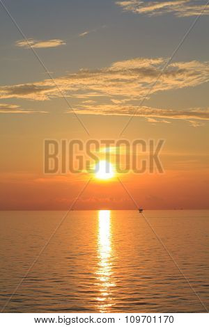 Offshore Production Platform In Sunset Time With Yellow Sky