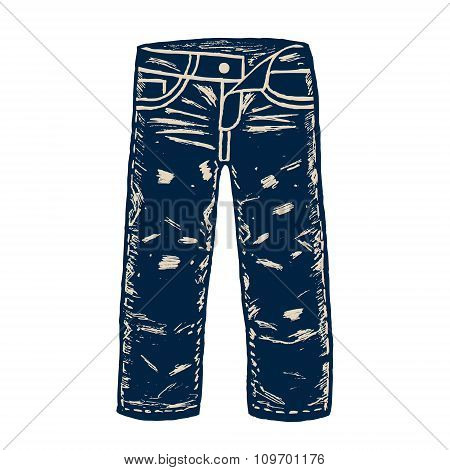 Denim jeans illustration.