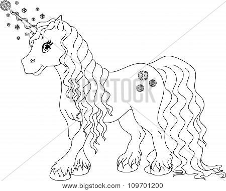 Unicorn Winter Coloring Page