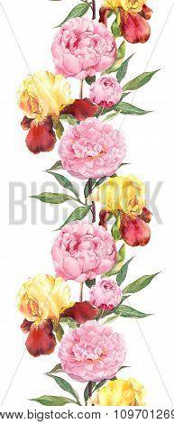 Peony and iris flowers. Seamless border stripe. Watercolour