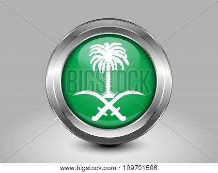 Saudi Arabia Variant Flag. Metal Round Icon