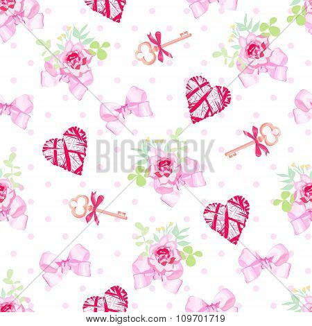 Keys, Flowers, Hearts And Pink Satin Bows Seamless Vector Print