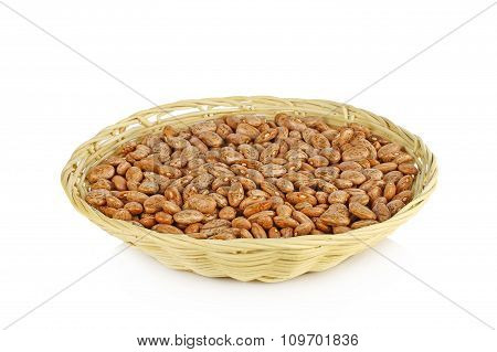 Pinto Beans In  Basket Isolated On A White Background