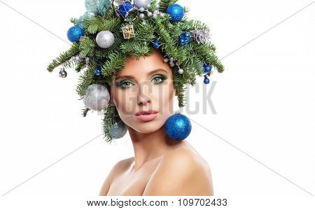 Beauty Fashion Model Girl with Christmas Tree Hairstyle studio