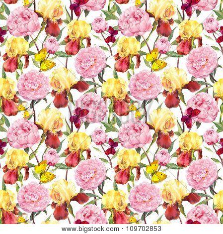 Repeating floral pattern. Peonies flowers, irises and butterflies. Water color