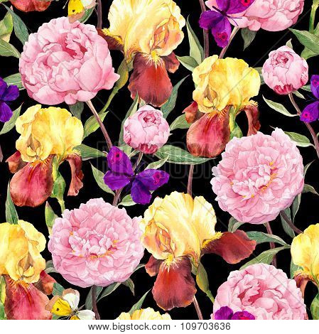 Seamless floral pattern. Peony flowers, iris and butterflies. Watercolor on black background
