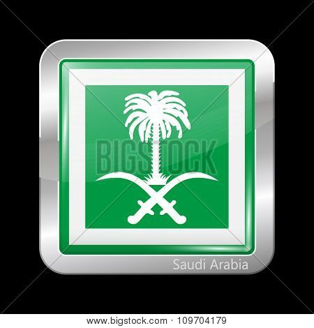 Saudi Arabia Variant Flag. Metallic Icon Square Shape