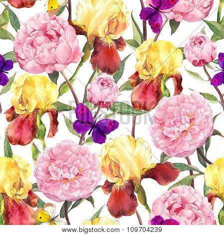 Seamless floral pattern. Peonies pink flowers, iris flower and butterflies. Watercolor