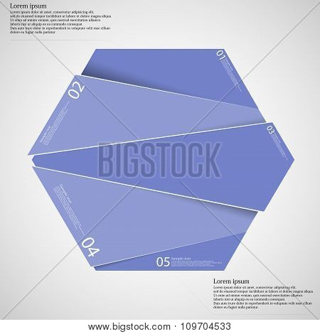 Infographic Template With Purple Hexagon Randomly Divided To Five Parts