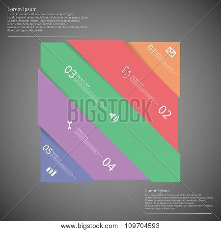 Infographic Template With Colorful Rectangle Askew Divided To Five Parts