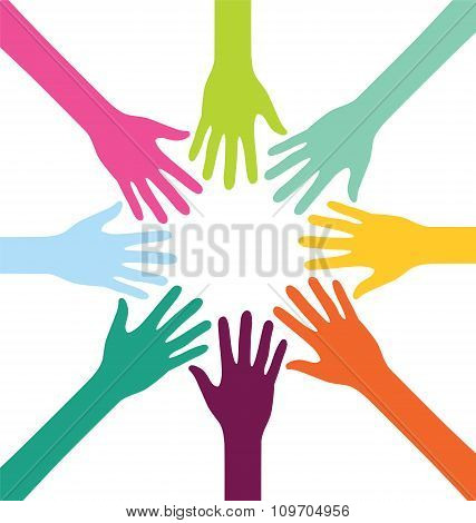 Creative Colorful Teamwork People Hand