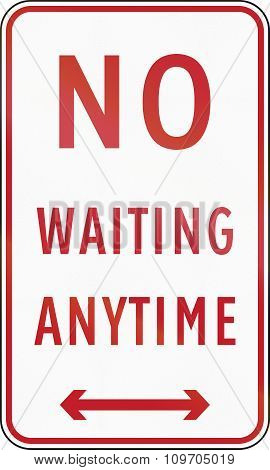 Road Sign In The Philippines - No Waiting Anytime