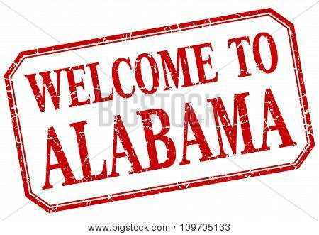 Alabama - Welcome Red Vintage Isolated Label Sign