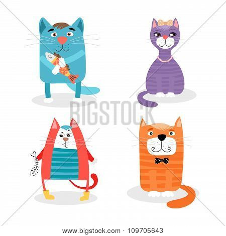 Colored set of cute cartoon cats