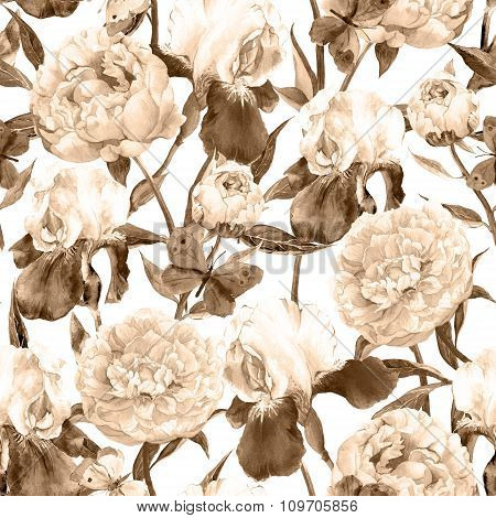 Peonies flowers, irises and butterflies. Retro seamless background. Floral pattern. Sepia vintage wa