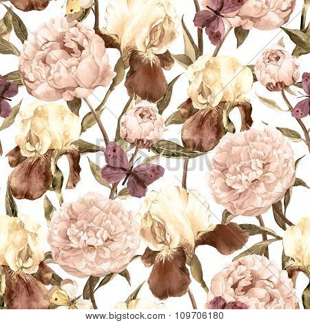 Peonies, irises and butterflies. Retro seamless background. Floral pattern. Watercolor