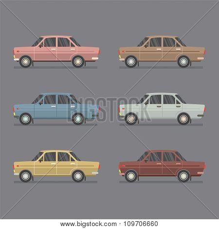 Side View Of Sedan Cars.