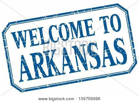 Arkansas - Welcome To  Blue Vintage Isolated Label