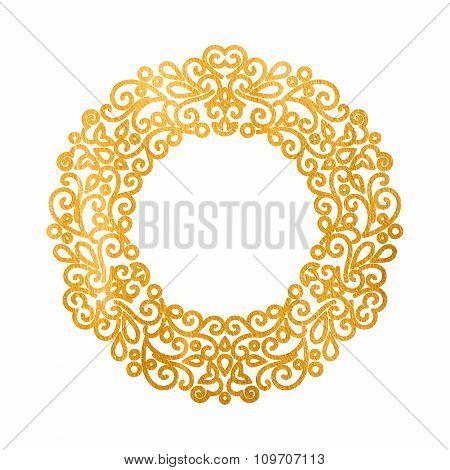 Elegant luxury retro golden floral round frame.