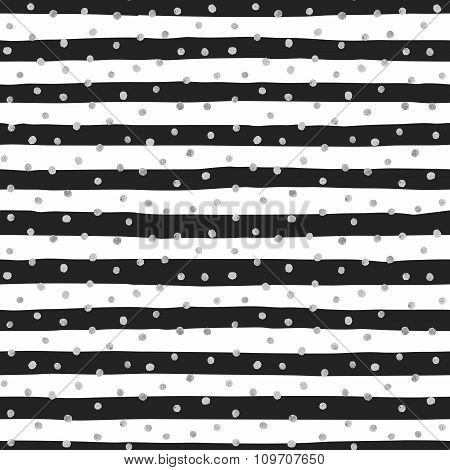 Seamless pattern of random silver dots.