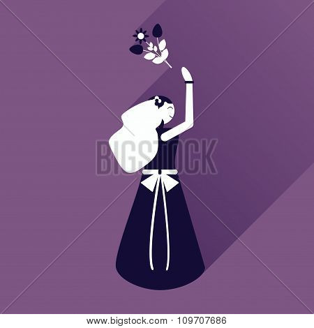 flat icon with long shadow bride throws bouquet
