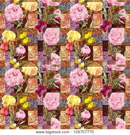 Flowers and indian ornament. Watercolor seamless pattern
