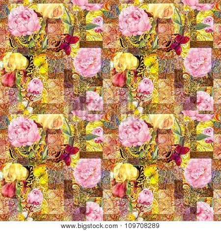 Flowers and indian ornamental design, golden. Watercolor seamless pattern