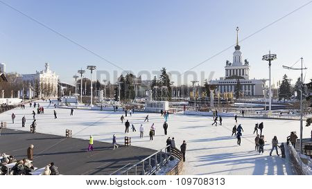People Skate On The Rink In Moscow
