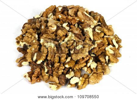 Bunch Of Shelled Walnuts On White