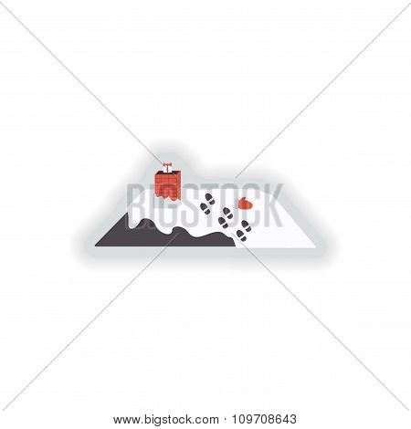 stylish paper sticker on white background roof snow gift