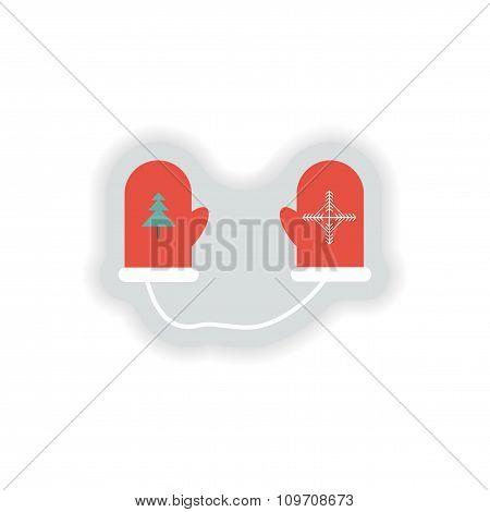 stylish paper sticker on white background mittens