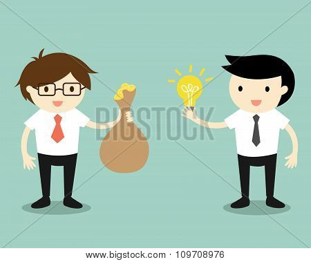 Business concept, Two businessmen give idea and money for exchange. Vector illustration.