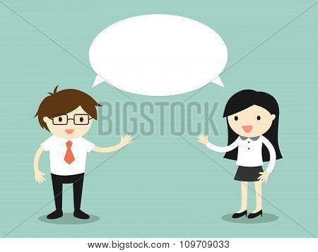 Business concept, businessman and business woman talking the same thing or same idea/concept.