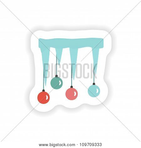 stylish paper sticker on white background icicles Christmas balls