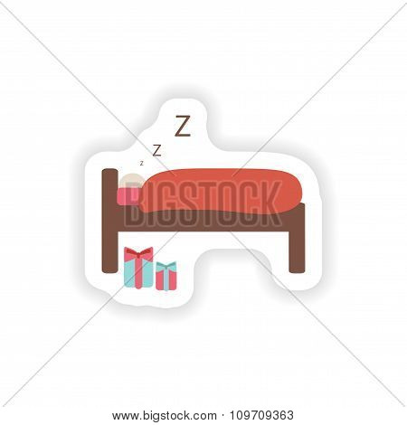 stylish paper sticker on white background man sleeps gifts