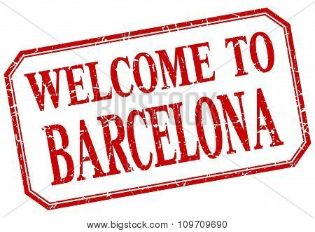 Barcelona - Welcome Red Vintage Isolated Label