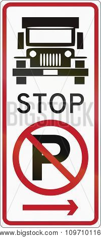 Road Sign In The Philippines - No Parking, Truck Stop