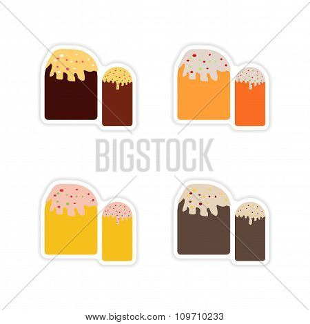 Set of paper stickers on white background Easter pastry
