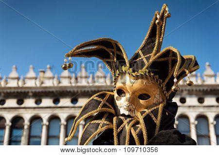 Golden jester at Venice carnival