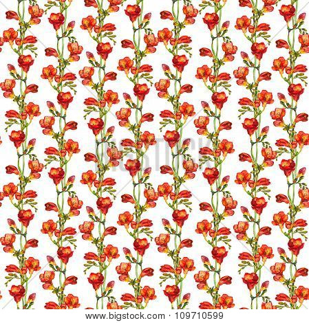 Repeated floral pattern with watercolor drawn lush bright red freesias flower