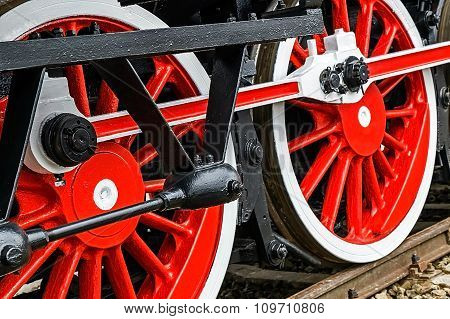 Detail And Close Up Of Huge Wheels At One Old German Steam Locomotive 5