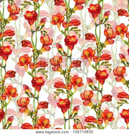 Seamless floral template with red flower freesia and green buds