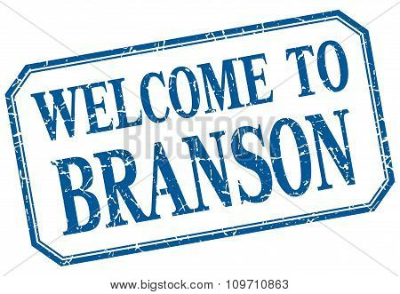 Branson - Welcome Blue Vintage Isolated Label Sign